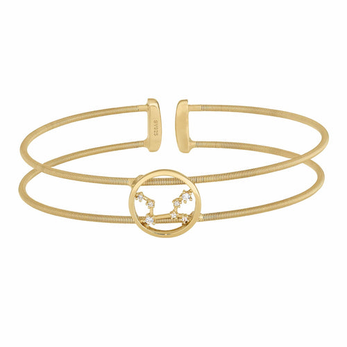 Gold Finish Sterling Silver Cable Cuff Constellation Virgo Bracelet - LL7047B8-G-Kelly Waters-Renee Taylor Gallery