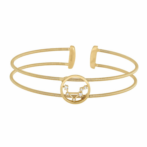Gold Finish Sterling Silver Cable Cuff Constellation Libra Bracelet - LL7047B9-G-Kelly Waters-Renee Taylor Gallery