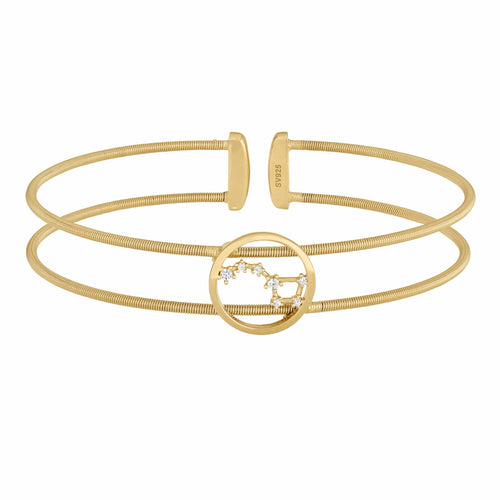Gold Finish Sterling Silver Cable Cuff Constellation Big Dipper Bracelet - LL7049B-G-Kelly Waters-Renee Taylor Gallery