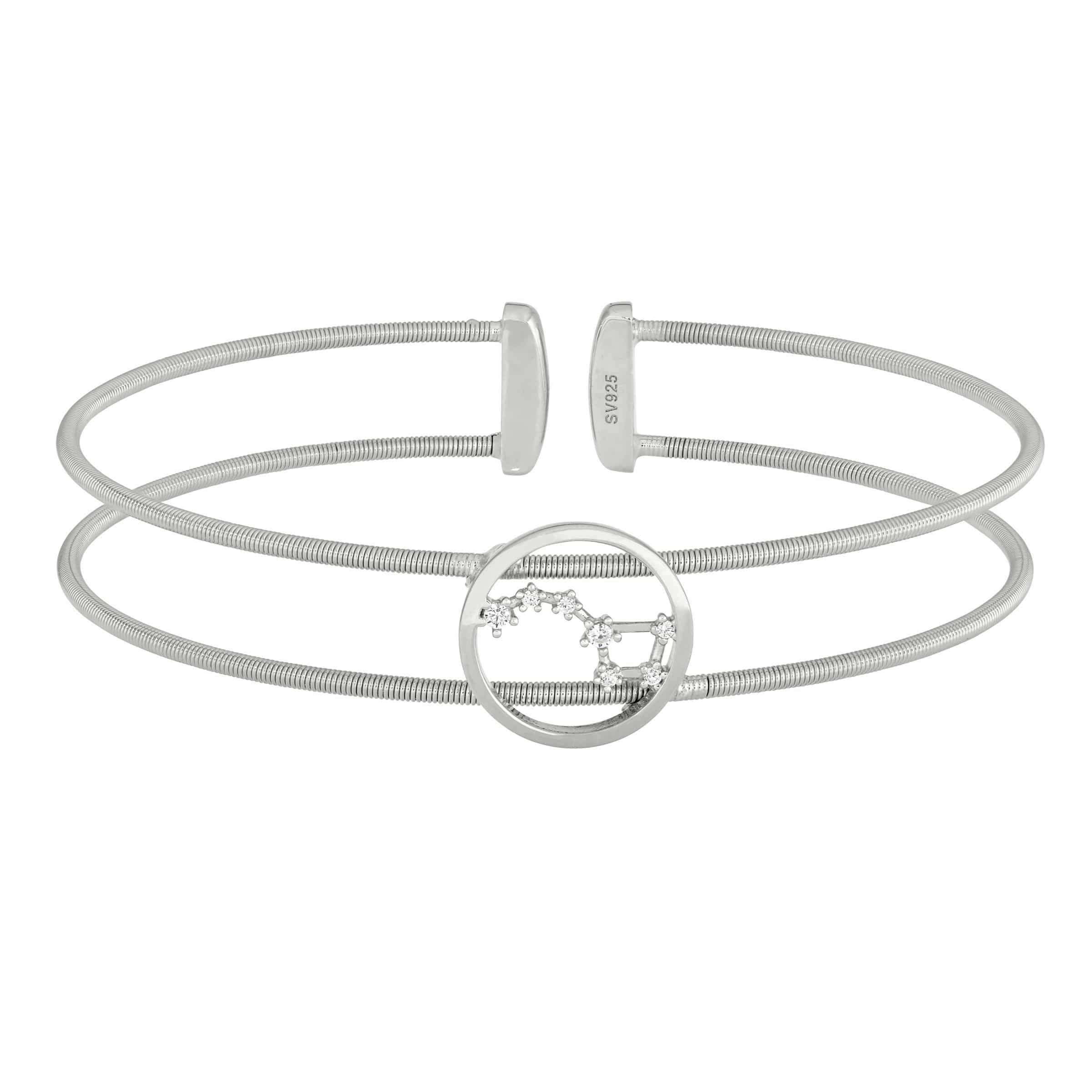 Rhodium Finish Sterling Silver Cable Cuff Constellation Big Dipper Bracelet - LL7049B-RH-Kelly Waters-Renee Taylor Gallery