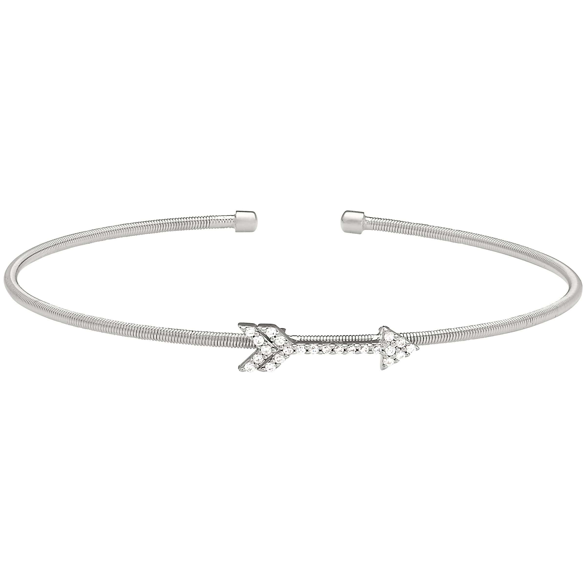 Rhodium Finish Sterling Silver Cable Cuff Arrow Bracelet - LL7057B-RH-Kelly Waters-Renee Taylor Gallery