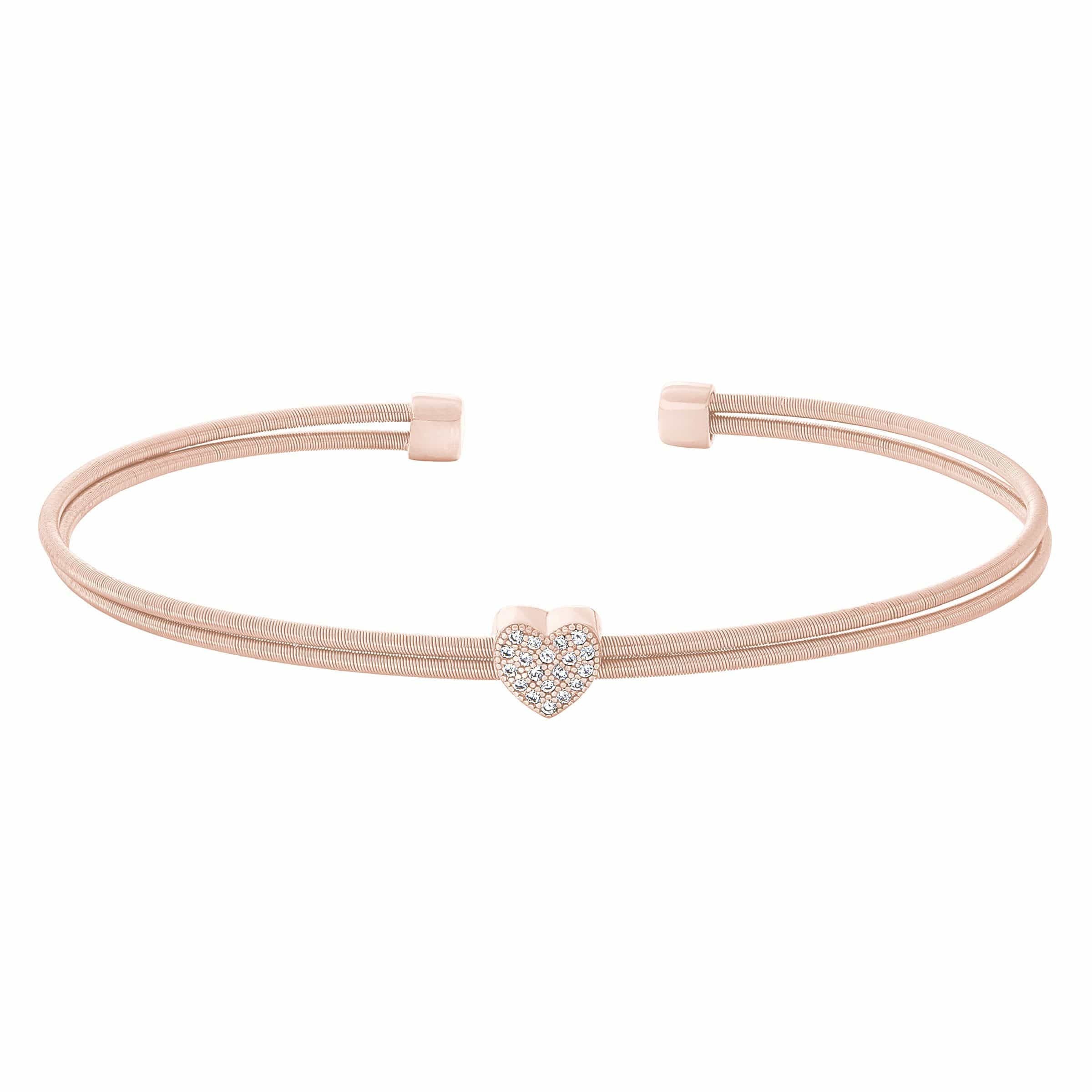 Rose Gold Finish Sterling Silver Two Cable Cuff Bracelet - LL7061B-RG-Kelly Waters-Renee Taylor Gallery