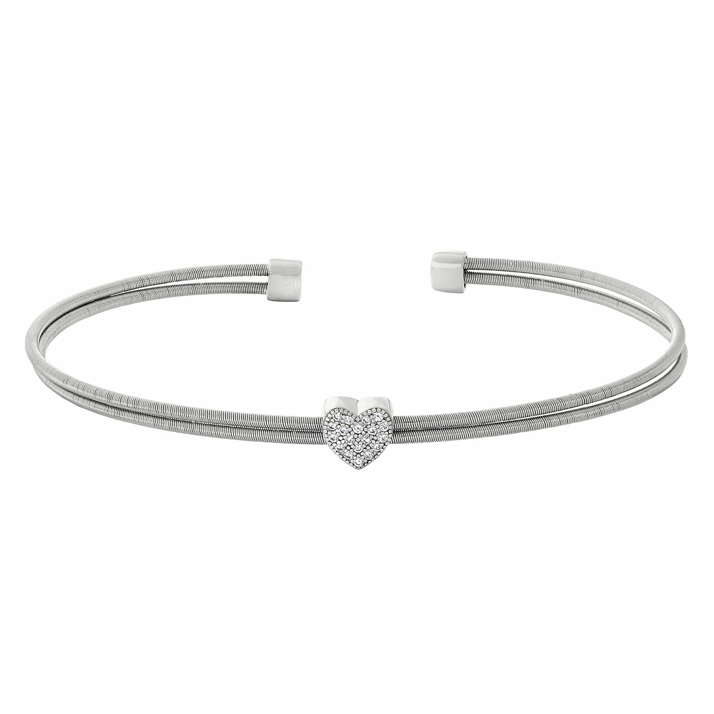 Rhodium Finish Sterling Silver Two Cable Cuff Bracelet - LL7061B-RH-Kelly Waters-Renee Taylor Gallery