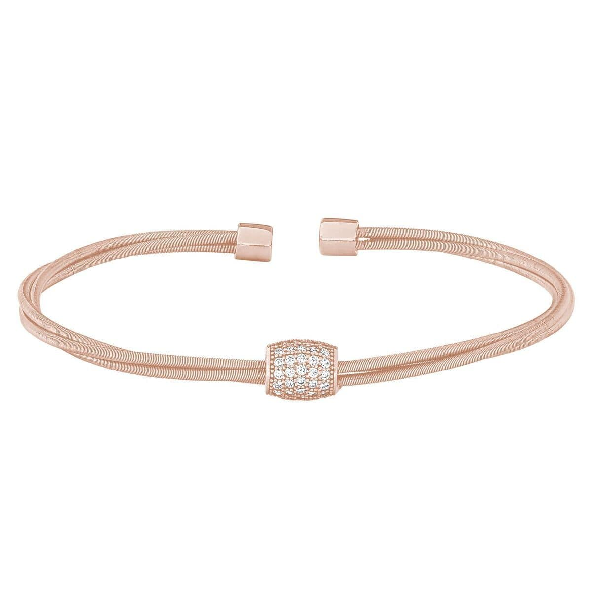 Rose Gold Finish Sterling Silver Three Cable Cuff Bracelet - LL7062B-RG-Kelly Waters-Renee Taylor Gallery