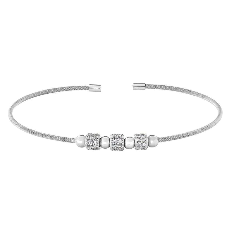 Rhodium Finish Sterling Silver Cable Cuff Bracelet - LL7063B-RH-Kelly Waters-Renee Taylor Gallery