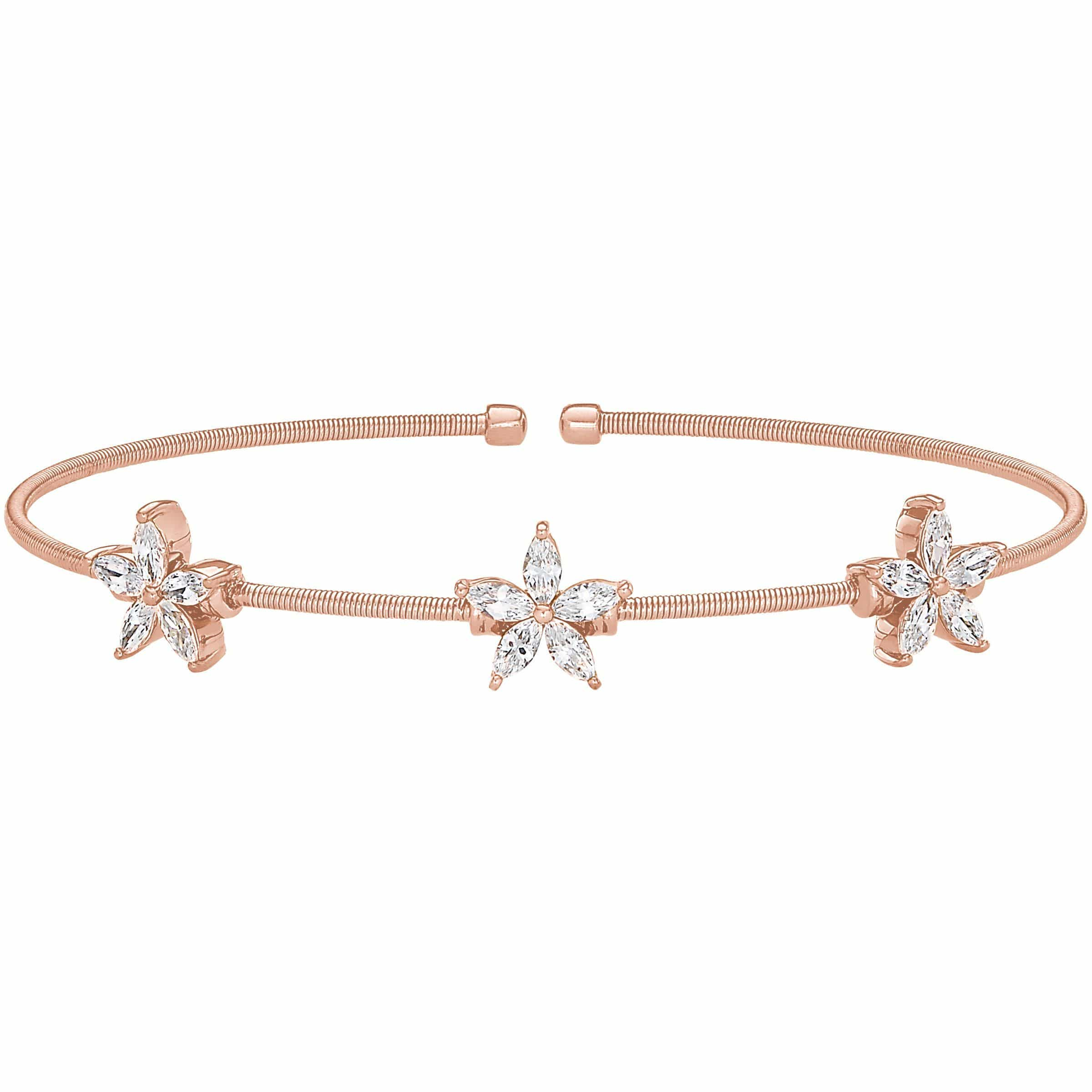 Rose Gold Finish Sterling Silver Cable Cuff Bracelet - LL7068B-RG-Kelly Waters-Renee Taylor Gallery