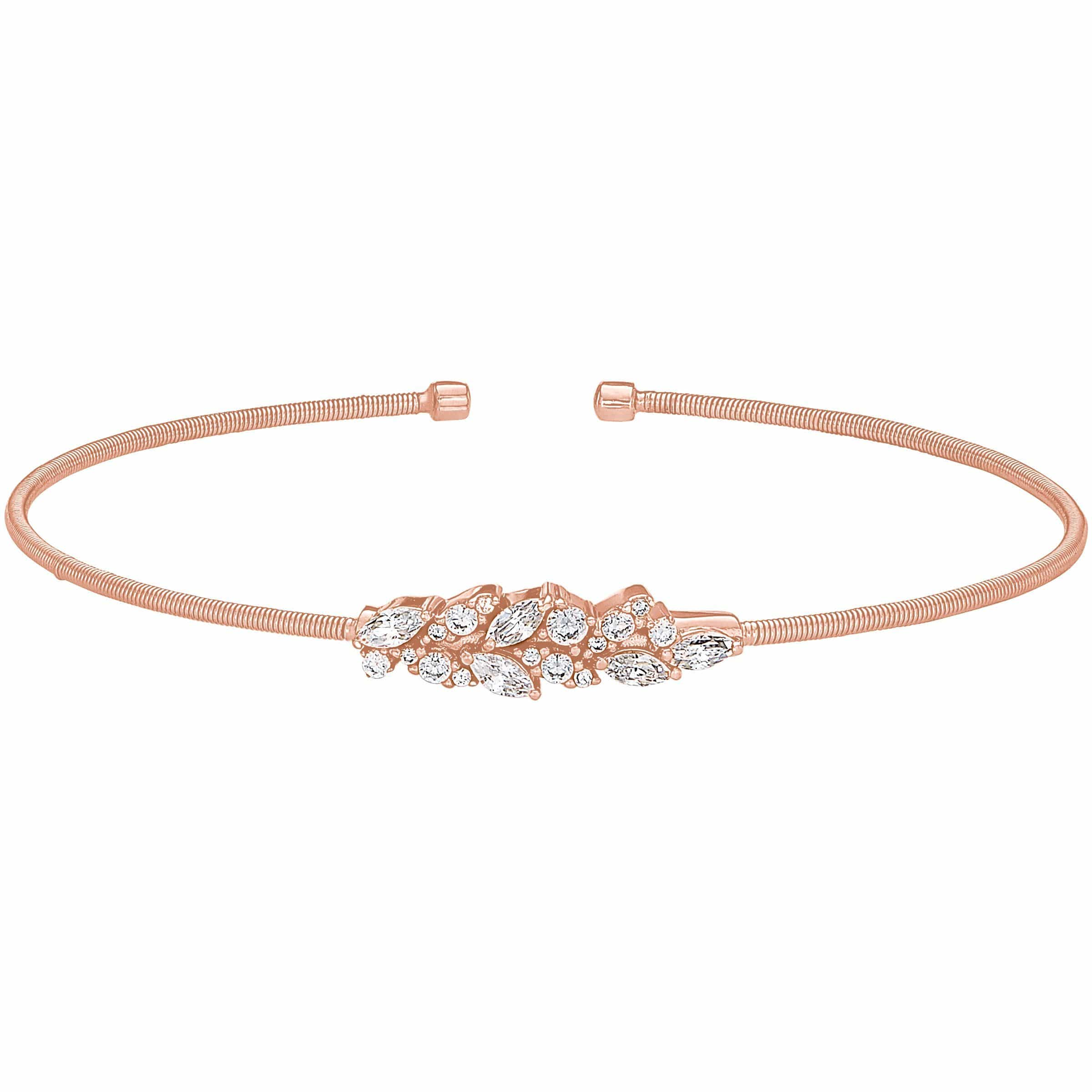 Rose Gold Finish Sterling Silver Cable Cuff Bracelet - LL7069B-RG-Kelly Waters-Renee Taylor Gallery