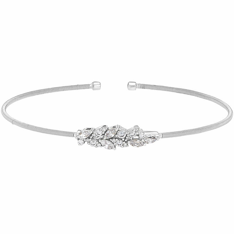 Rhodium Finish Sterling Silver Cable Cuff Bracelet - LL7069B-RH-Kelly Waters-Renee Taylor Gallery