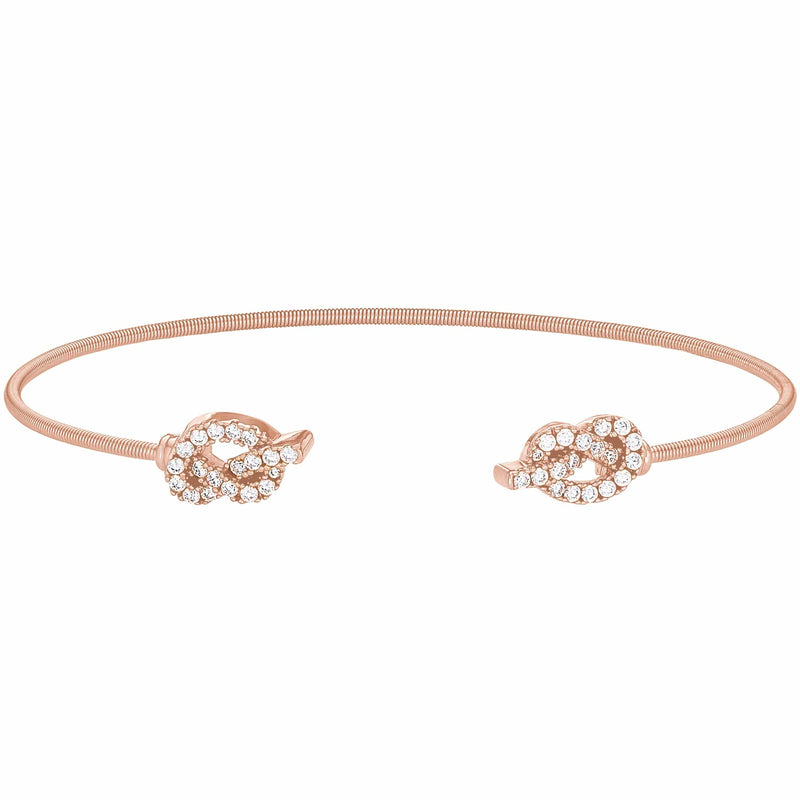 Rose Gold Finish Sterling Silver Cable Cuff Bracelet - LL7072B-RG-Kelly Waters-Renee Taylor Gallery