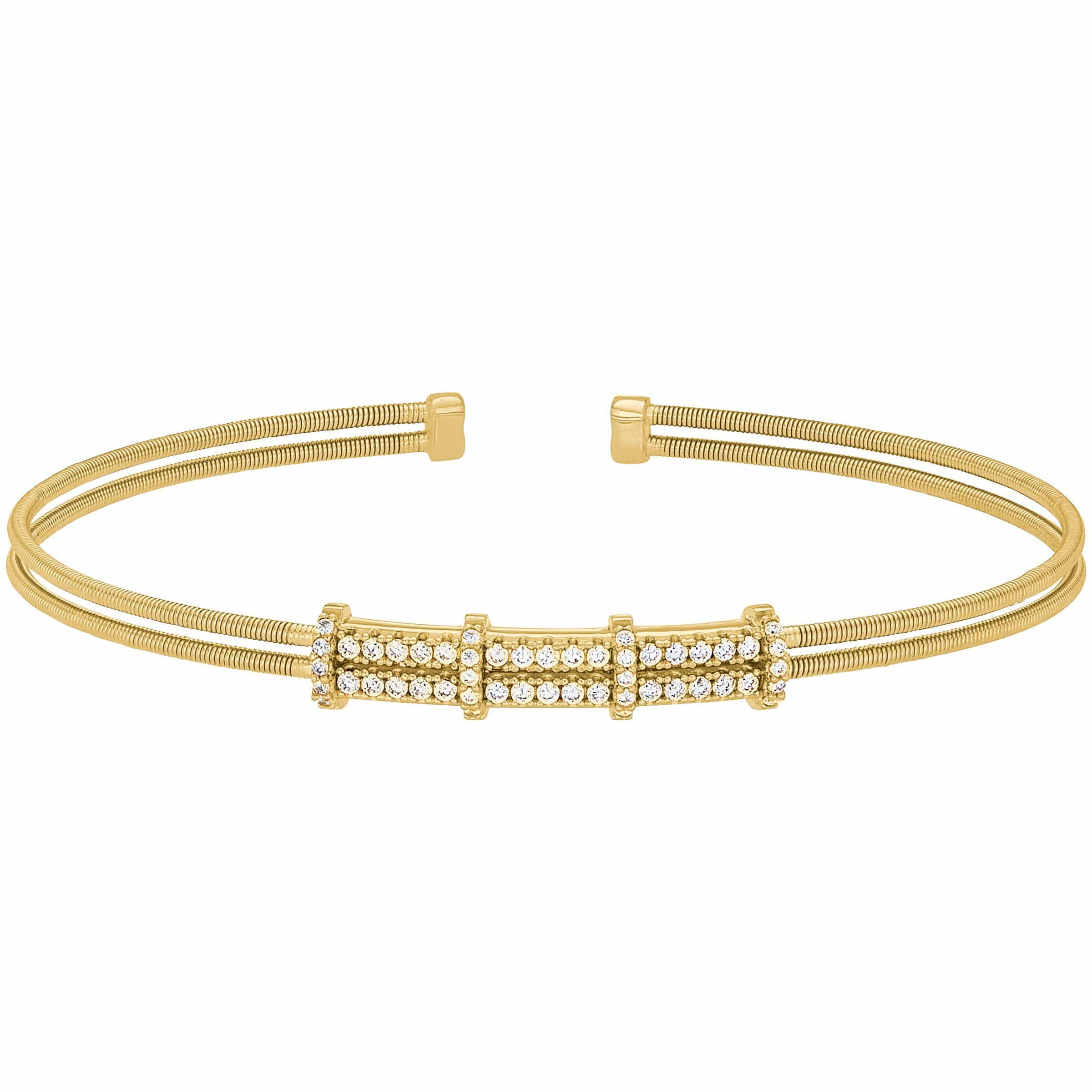 Gold Finish Sterling Silver Two Cable Cuff Bracelet - LL7077B-G-Kelly Waters-Renee Taylor Gallery