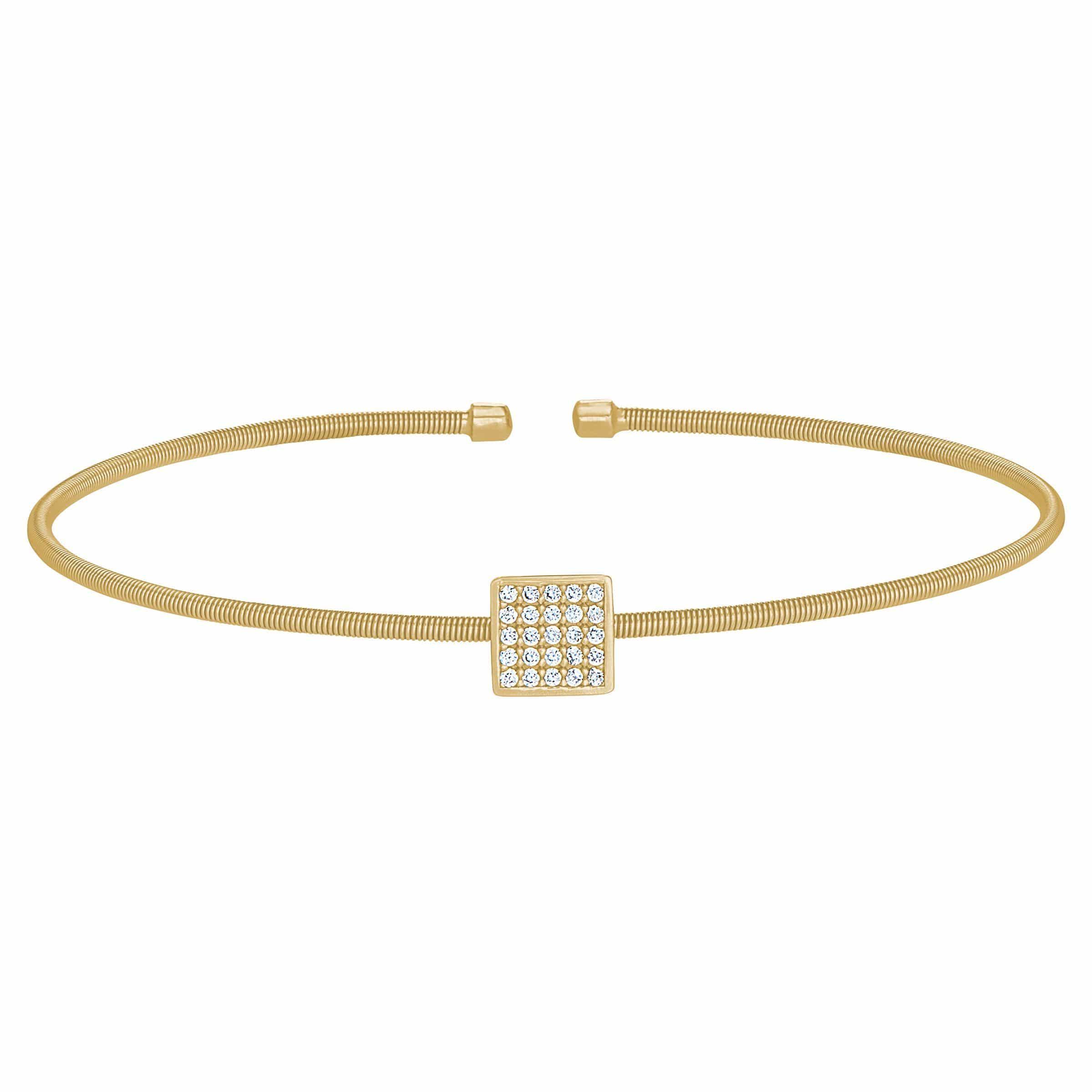 Gold Finish Sterling Silver Cable Cuff Square Bracelet - LL7081B-G-Kelly Waters-Renee Taylor Gallery