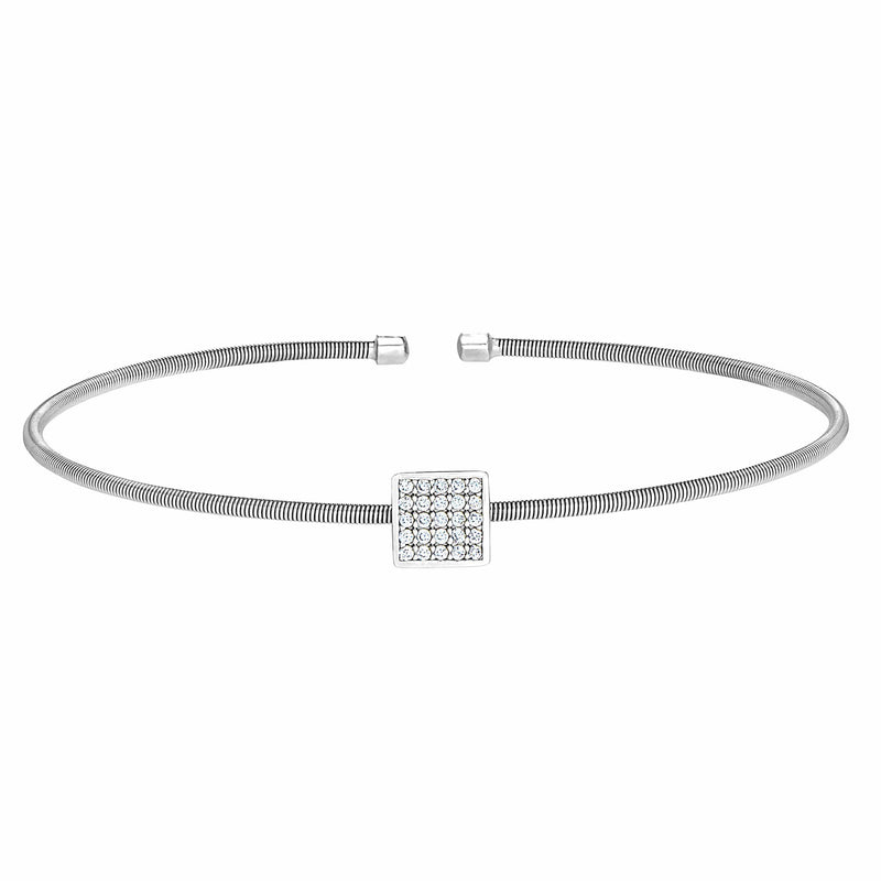 Rhodium Finish Sterling Silver Cable Cuff Square Bracelet - LL7081B-RH-Kelly Waters-Renee Taylor Gallery