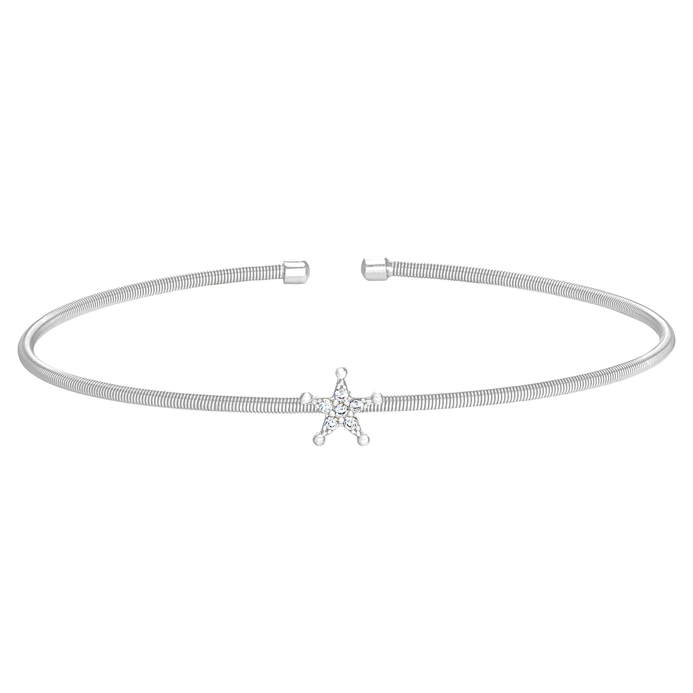 Rhodium Finish Sterling Silver Cable Cuff Star Bracelet - LL7083B-RH-Kelly Waters-Renee Taylor Gallery