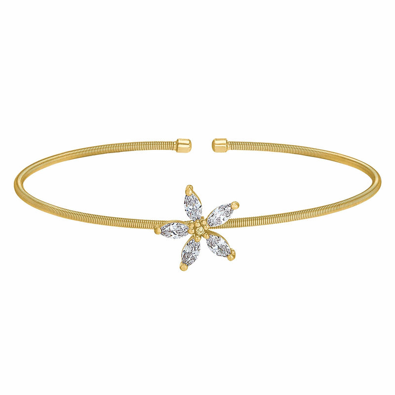 Gold Finish Sterling Silver Cable Cuff Flower Bracelet - LL7084B-G-Kelly Waters-Renee Taylor Gallery