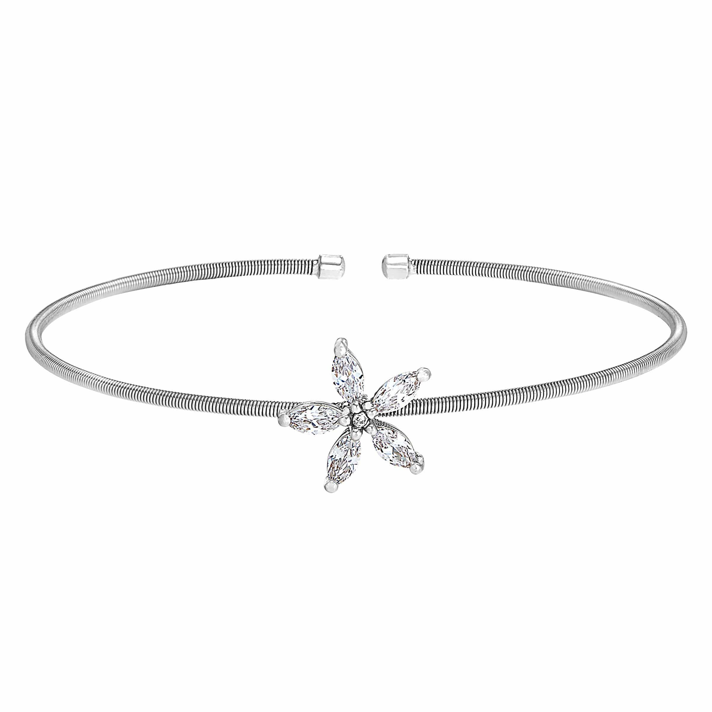 Rhodium Finish Sterling Silver Cable Cuff Flower Bracelet - LL7084B-RH-Kelly Waters-Renee Taylor Gallery
