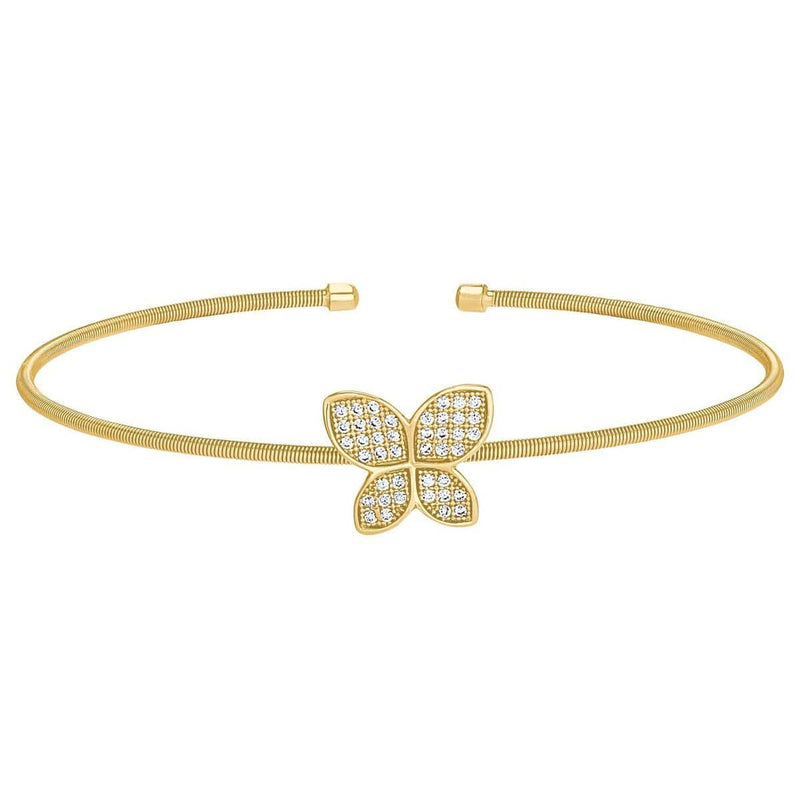 Gold Finish Sterling Silver Cable Cuff Butterfly Bracelet - LL7085B-G-Kelly Waters-Renee Taylor Gallery