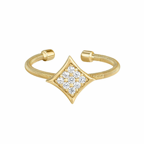Gold Finish Sterling Silver Cable Cuff Diamond Shaped Ring - LL7088R-G-Kelly Waters-Renee Taylor Gallery