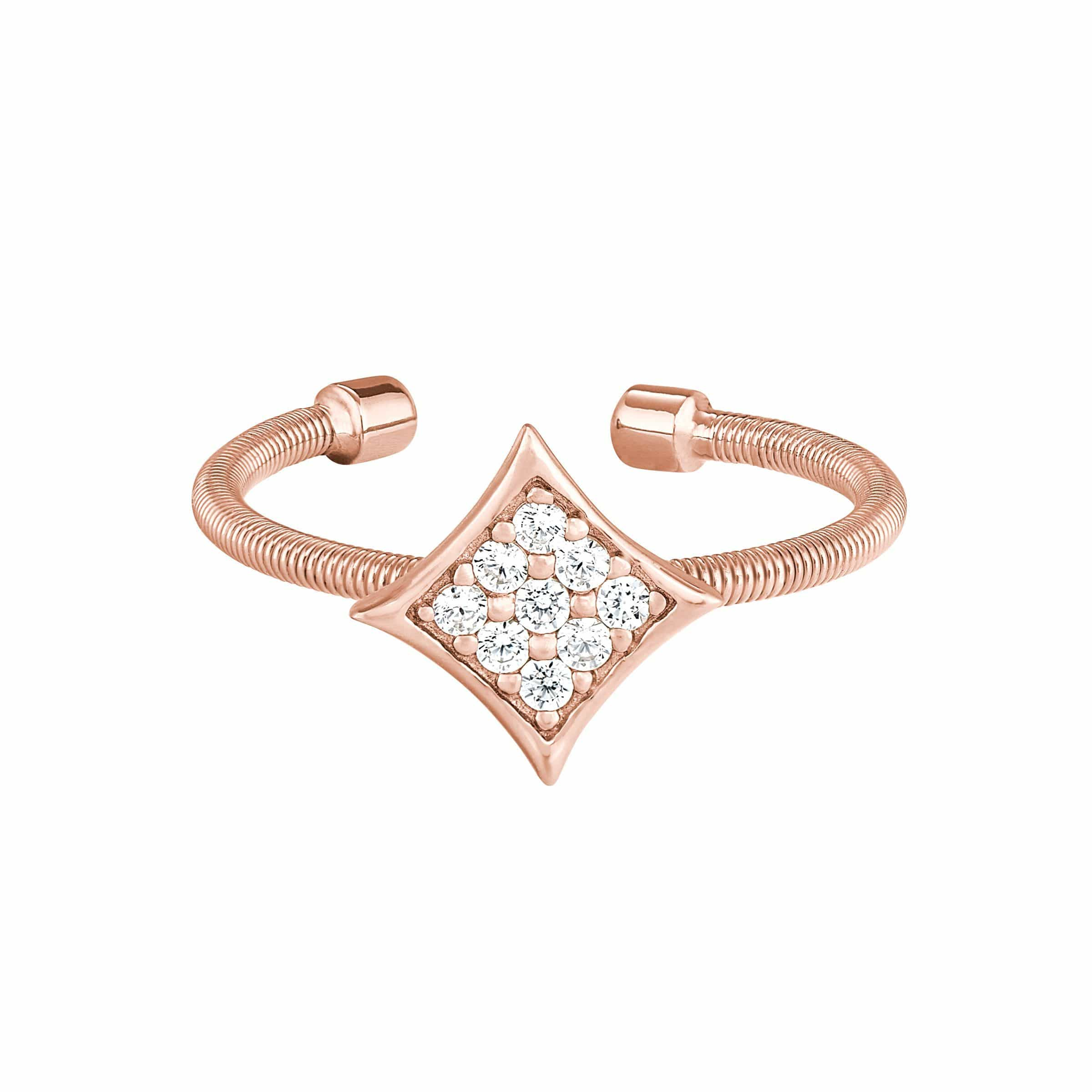 Rose Gold Finish Sterling Silver Cable Cuff Diamond Shaped Ring - LL7088R-RG-5-Kelly Waters-Renee Taylor Gallery