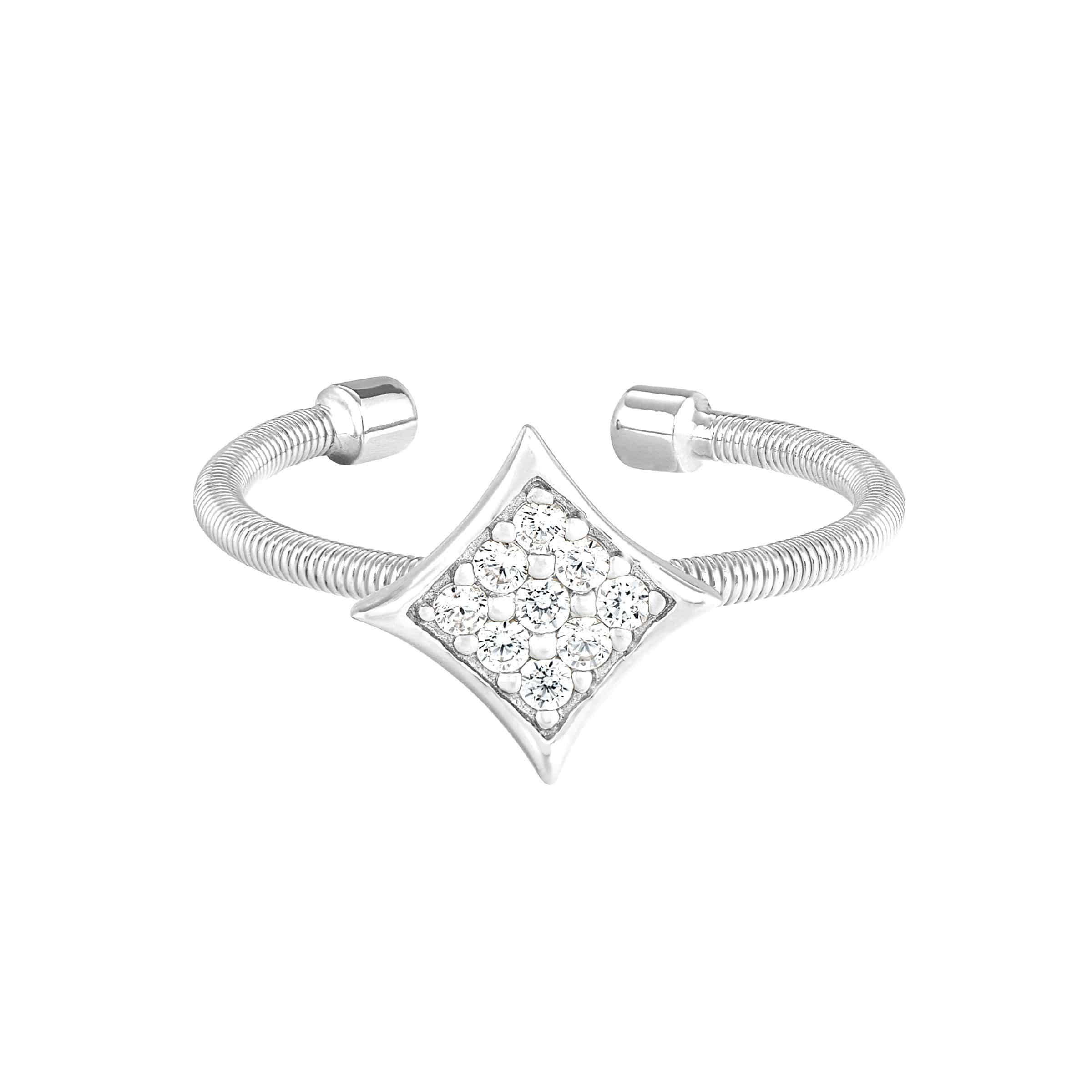 Rhodium Finish Sterling Silver Cable Cuff Diamond Shaped Ring - LL7088R-RH-5-Kelly Waters-Renee Taylor Gallery