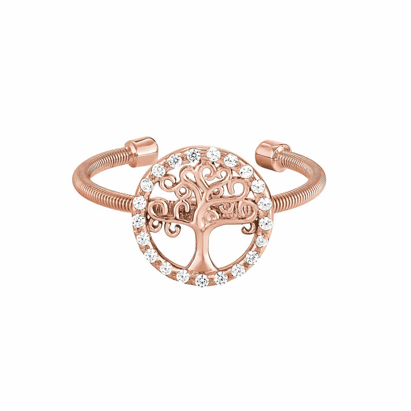 Rose Gold Finish Sterling Silver Cable Cuff Family Tree Ring - LL7089R-RG-Kelly Waters-Renee Taylor Gallery