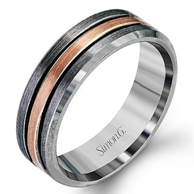 Platinum & Rose Gold Men's Band - LP2189-Simon G.-Renee Taylor Gallery