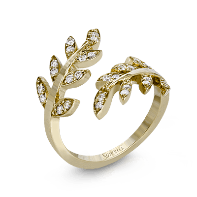 18k Yellow Gold Swirled Leaves Round Diamond Ring - LP2309-A-Y-Simon G.-Renee Taylor Gallery