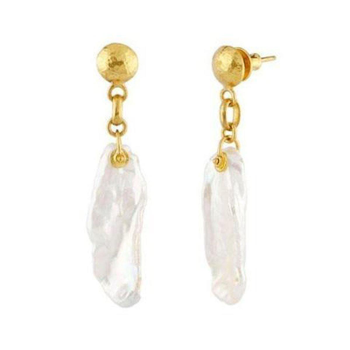 Oyster 24K Gold Pearl Earrings - LTE-1PE-PTL-GURHAN-Renee Taylor Gallery