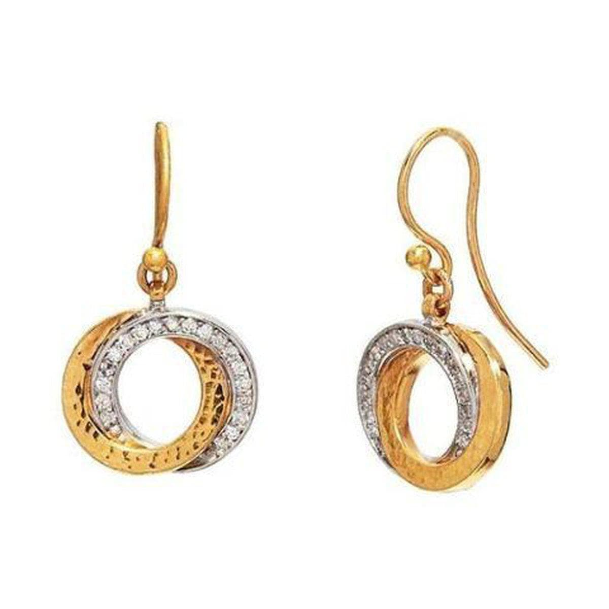 Duet 22K Gold White Diamond Earrings - LTE-INT-2RD-H-19DI