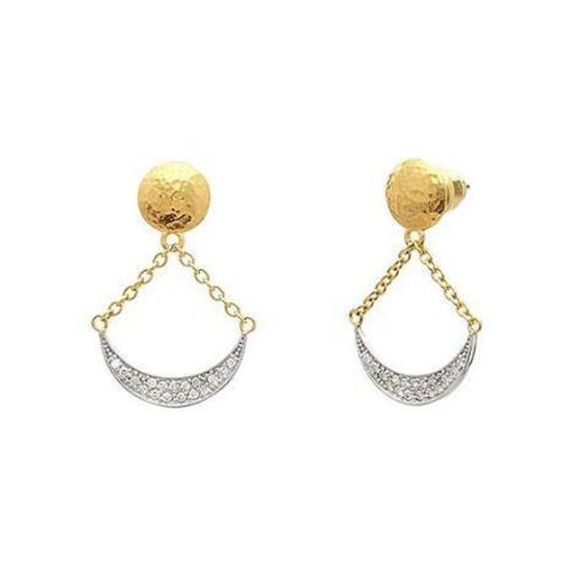 Mango 22K Gold White Diamond Earrings - LTE-LSPV-NFL-DI