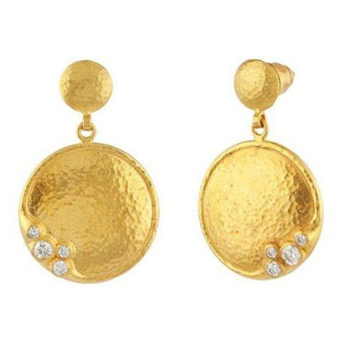 Pointelle 22K Gold White Diamond Earrings - LTE-SCTDI-RD-S-SO-GURHAN-Renee Taylor Gallery