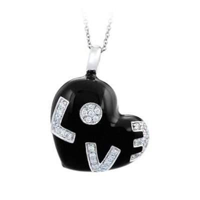 Love Sterling Silver Black Pendant
