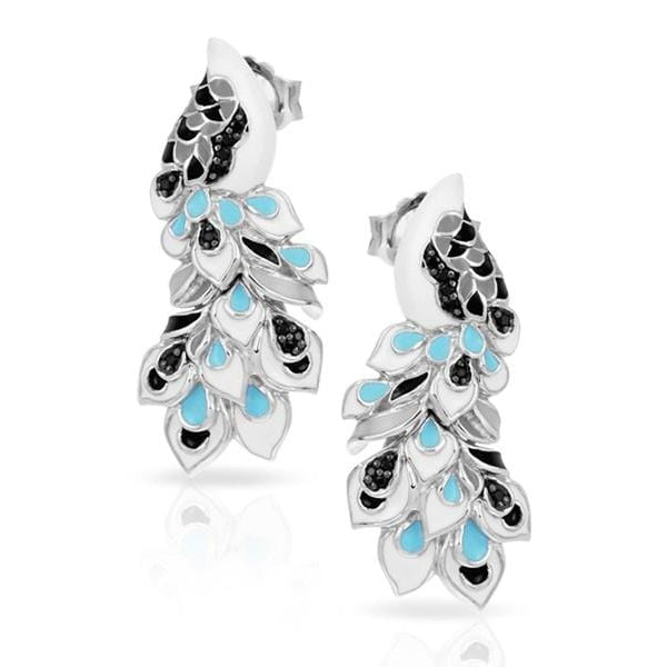 Love in Plume Sterling Silver White & Blue Earring-Belle Etoile-Renee Taylor Gallery