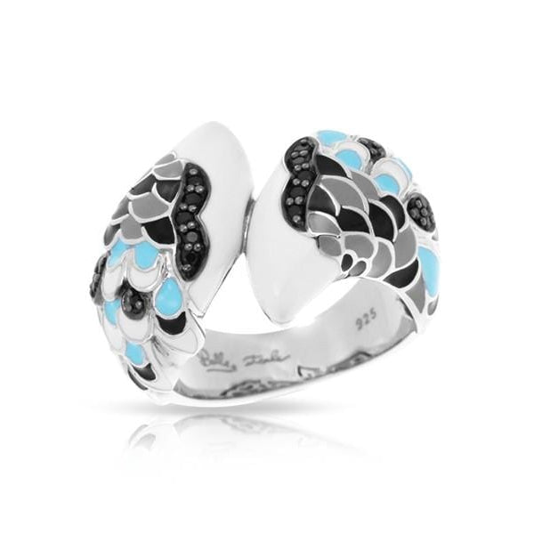 Love in Plume Sterling Silver White & Blue Ring-Belle Etoile-Renee Taylor Gallery