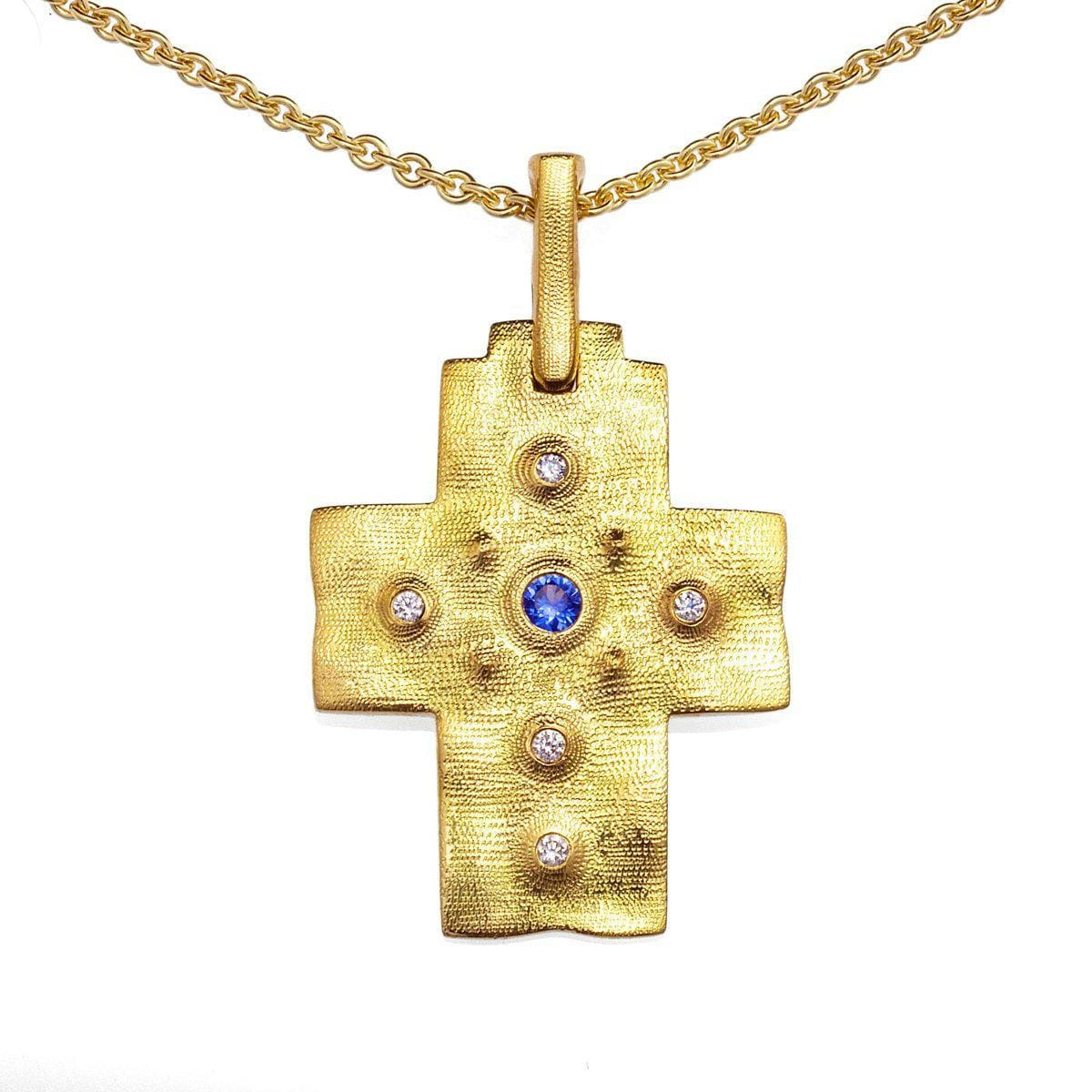18K Desert Blue Sapphire & Diamond Cross Pendant - M-100-Alex Sepkus-Renee Taylor Gallery