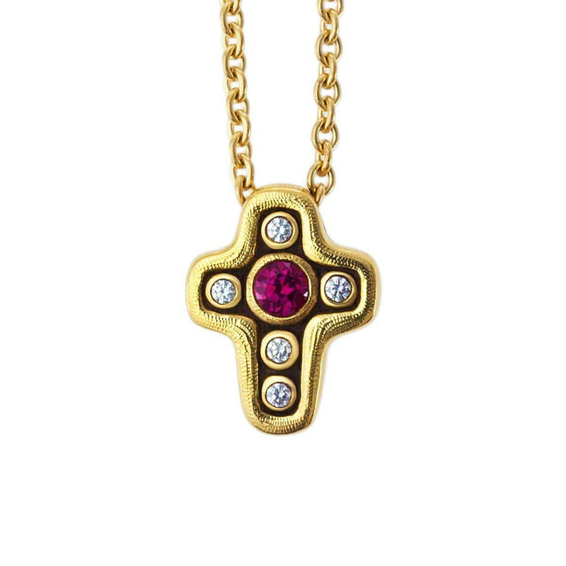 18K Cross Pink Sapphire & Diamond Pendant Necklace - M-1815-Alex Sepkus-Renee Taylor Gallery