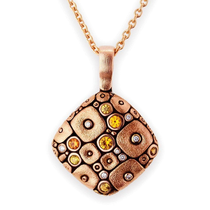 18K Soft Mosaic Orange Mix Sapphire & Diamond Pendant - M-46RS-Alex Sepkus-Renee Taylor Gallery