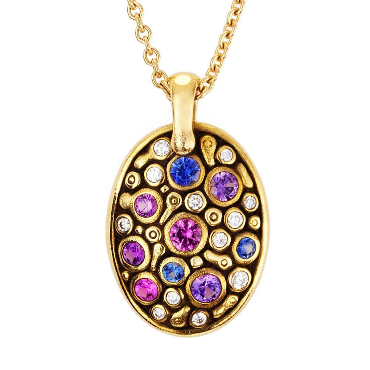 18K Constellation Blue Pink Mix Sapphire & Diamond Pendant - M-64S-Alex Sepkus-Renee Taylor Gallery