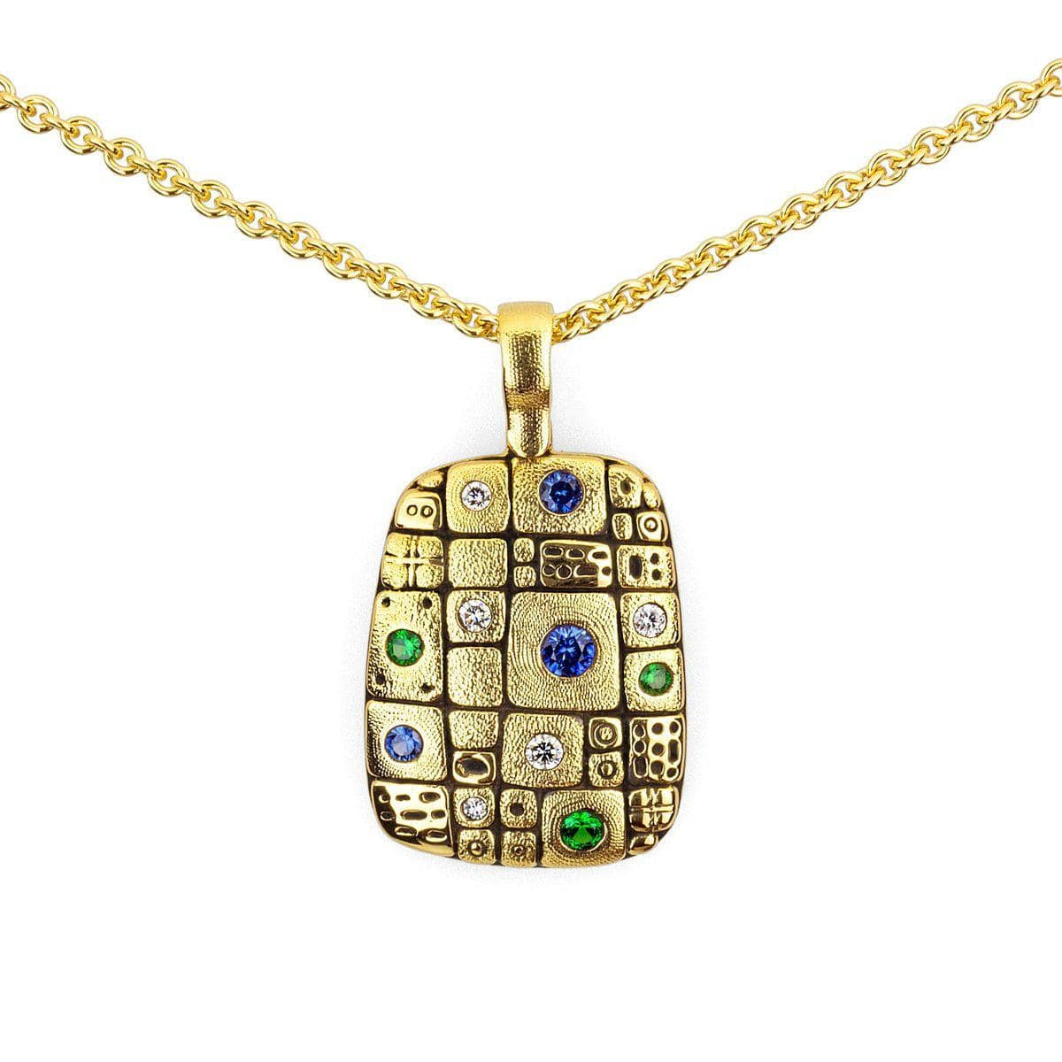 18K Old Pathway Blue Green Mix Sapphire Tsavorite & Diamond Pendant - M-74S-Alex Sepkus-Renee Taylor Gallery