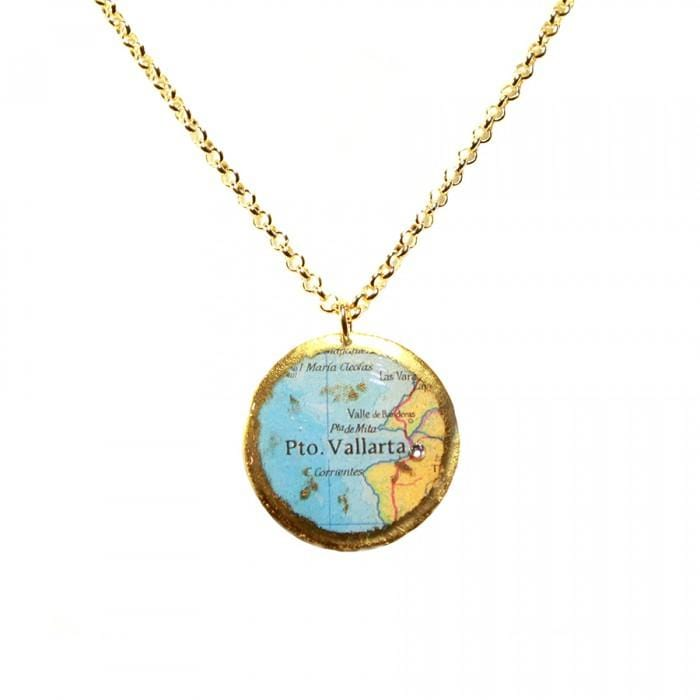Puerto Vallarta Map Pendant - MA203-Evocateur-Renee Taylor Gallery