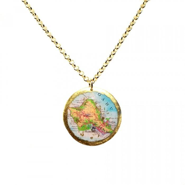Honolulu Map Pendant - MA208-Evocateur-Renee Taylor Gallery