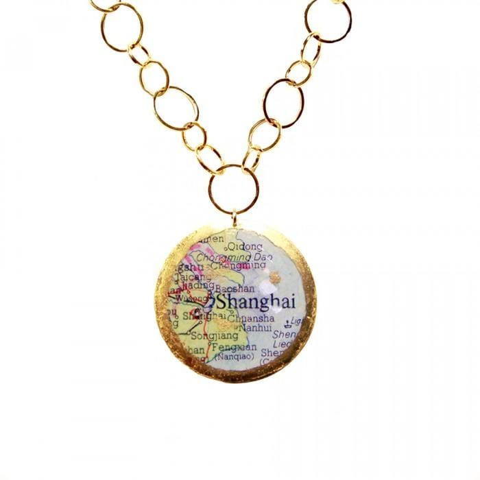 Shanghai Vancouver Double-Sided Map Pendant - MA220-Evocateur-Renee Taylor Gallery