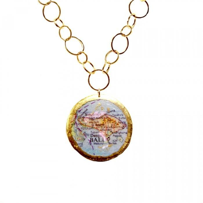 Bali Honolulu Double-Sided Map Pendant - MA221