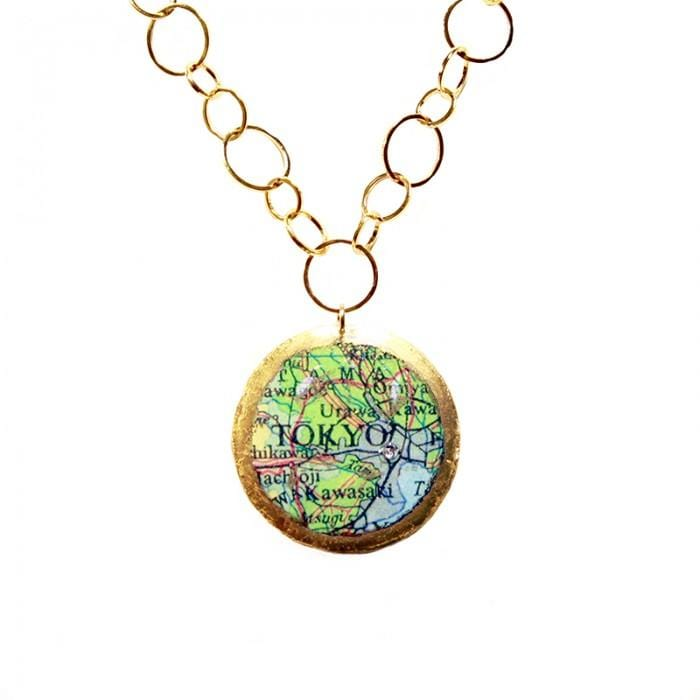 Tokyo Sydney Double-Sided Map Pendant - MA223-Evocateur-Renee Taylor Gallery