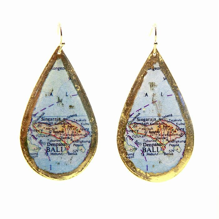 Bali Map Teardrop Earrings - MA401-Evocateur-Renee Taylor Gallery