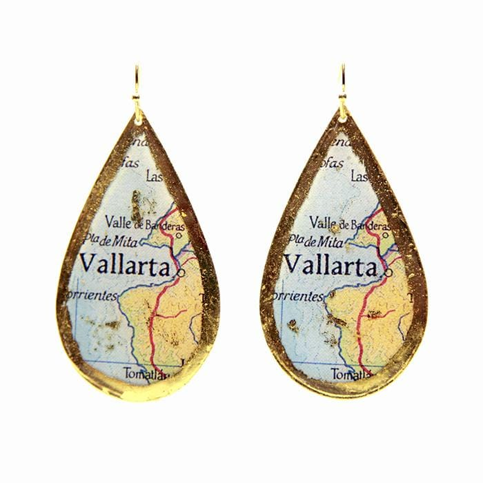 Puerto Vallarta Map Teardrop Earrings - MA405-Evocateur-Renee Taylor Gallery