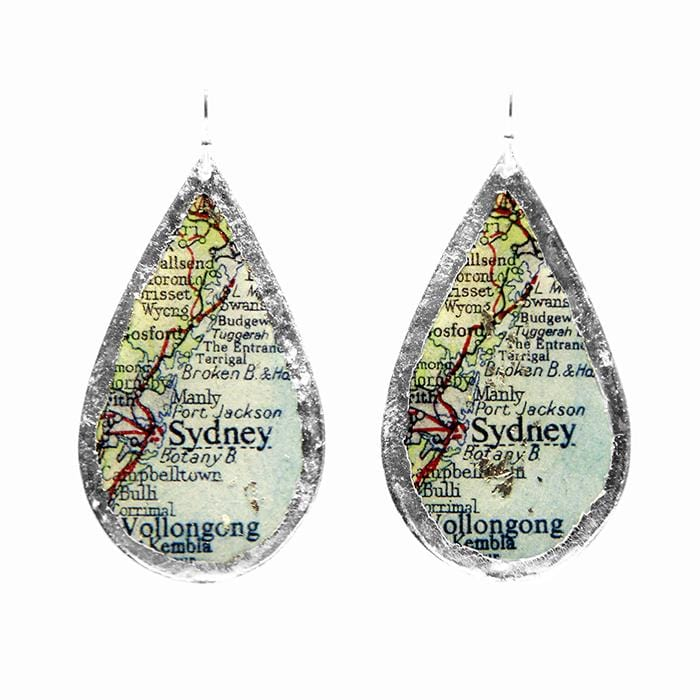 Sydney Map Teardrop Silver Earrings - MA407-S-Evocateur-Renee Taylor Gallery