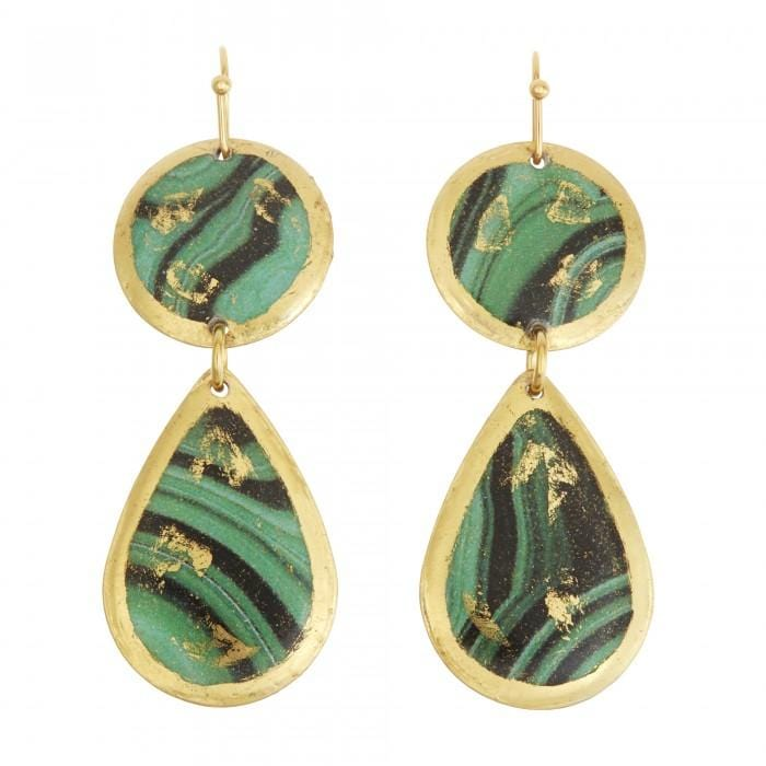 Malachite Mini Teardrop Earrings - MI402-Evocateur-Renee Taylor Gallery