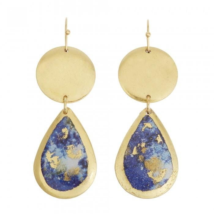 Lapis Mini Teardrop Earrings - MI405-G-Evocateur-Renee Taylor Gallery