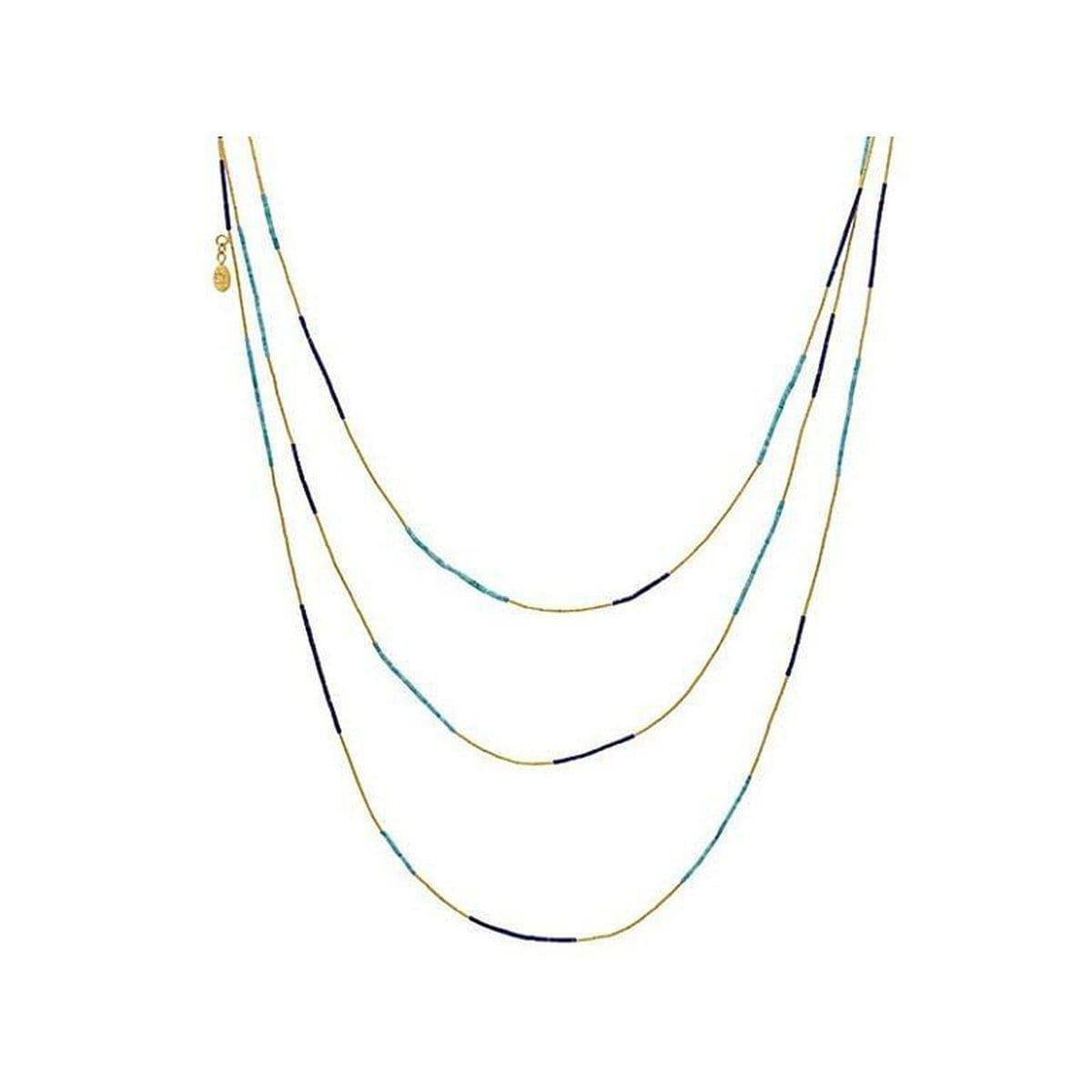 Delicate Hue 24K Gold Multi Stone Necklace - MN1-LATQ-23ST-PL-50-GURHAN-Renee Taylor Gallery
