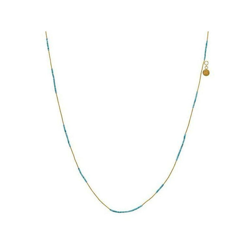 Delicate Hue 24K Gold Turquoise Necklace - MN1-TQ-9ST-PL-18-GURHAN-Renee Taylor Gallery